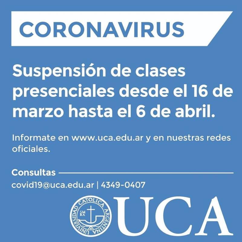 AVISO SUSPENCIÓN DE CLASES PRESENCIALES UCA